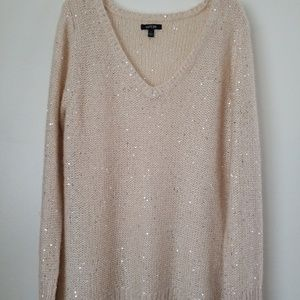 Apt 9 cream sweater with silver sequins